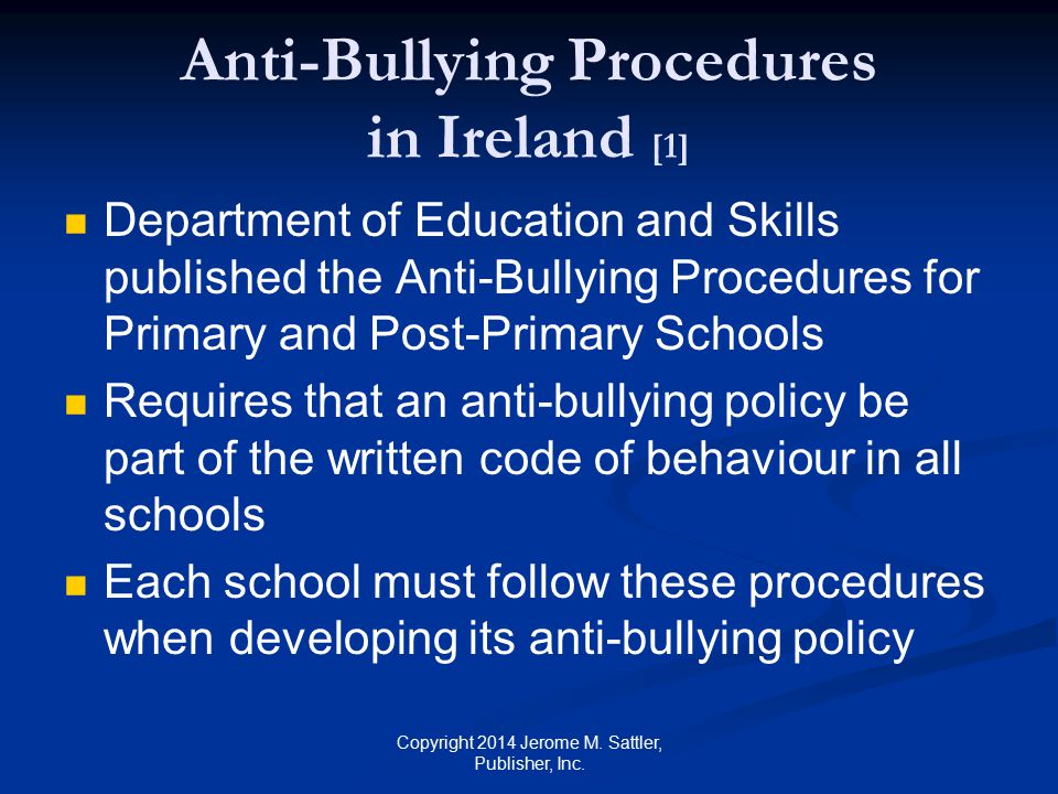 Anti-Bullying Procedures in Ireland [1]